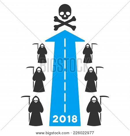 2018 Scytheman Future Road Flat Vector Pictograph. An Isolated Icon On A White Background.