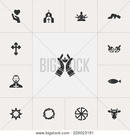 Set Of 13 Editable Dyne Icons. Includes Symbols Such As Christian Cross, Heart In Hand, Ichthys. Can