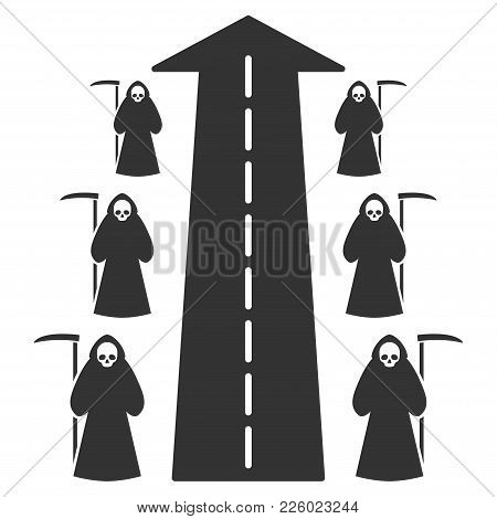 Scytheman Future Road Flat Vector Pictograph. An Isolated Icon On A White Background.