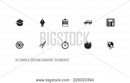 Set Of 10 Editable Education Icons. Includes Symbols Such As Apple, Calculate, Orbit And More. Can B