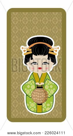 Japanese Doll, Kokeshi With A Lantern On Green Textured Background
