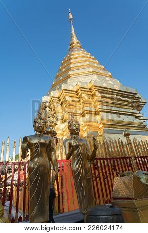 Chedi Or Stupa On Top  Hill At Sacred Temple Of Wat Phra That Doi Suthep