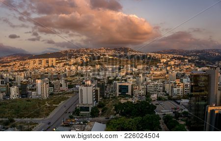 Beirut, Lebanon In Landscape During Springtime With Dramatic Sky