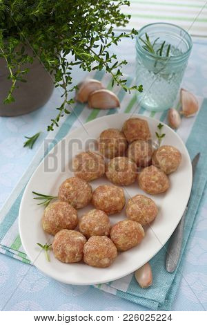 Minced Meat Balls,raw Pork Meat On A White Plate.