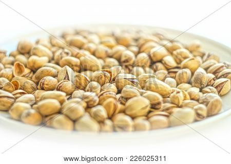 Fried Salted Pistachios Nut Food Taste Delicious Beneficial Features Harvest Appetite Isolate