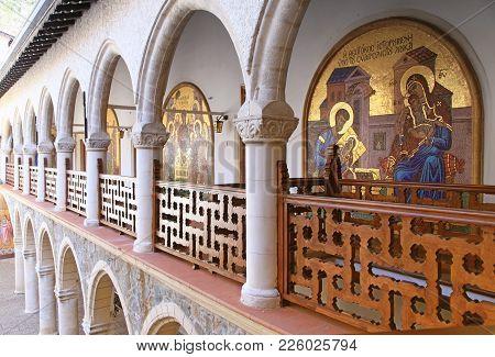 Kykkos, Cyprus - January 10, 2018: Kykkos Monastery In Cyprus, Famous Religious Places, Cyprus Landm