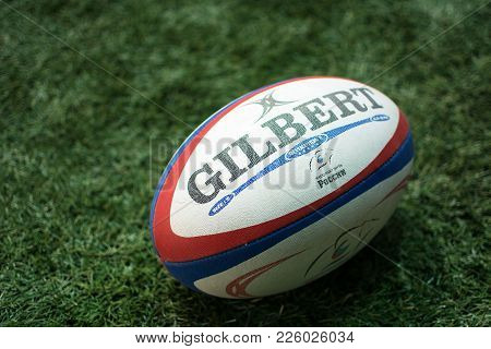 Yoshkar-ola, Russia - January 20, 2018 Official Ball European Championship Rugby Gilbert On Sports F