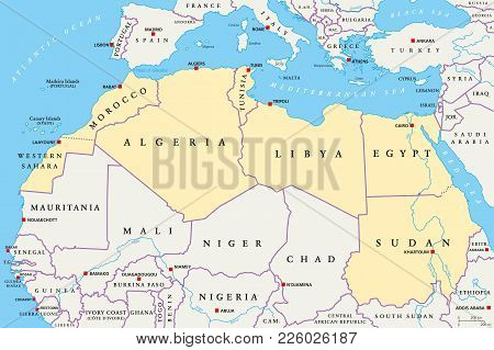 North Africa Region, Political Map. Yellow Colored Area, With Capitals And Borders. Collective Term