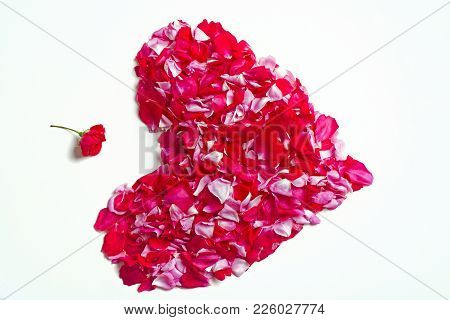Love And Tenderness, Gift For Valentine's Day. Valentine Icon. Heart Of Pink Rose Petals Isolated On
