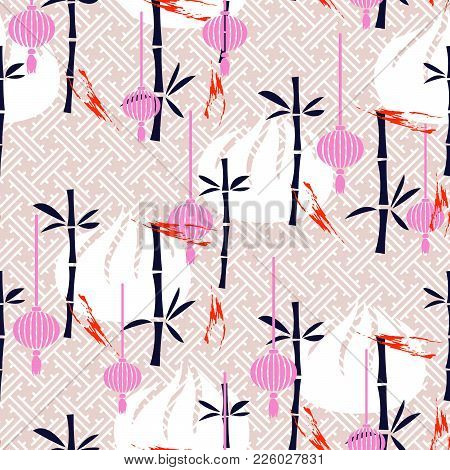 Dim Sum And Bamboo Pink Seamless Vector Traditional Pattern. Asian Food Background.