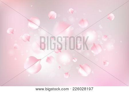 Pink Sakura Falling Petals Vector Background. Vector Illustration