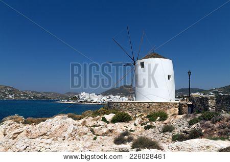 Traditional greek windmill in Parikia town, on the island of Paros in Greece