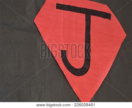 Black Letter J In Red Shield Paper Decoration