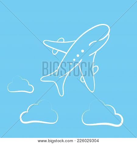 Icon Of Transparent Airplane, Cloud On Blue Background Vector Illustration. Airport Icon, Airplane S