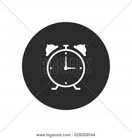 Alarm Clock Round Icon. Wake Up Alarm Button. Vector.