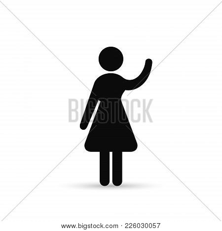 Woman Raised Hand Icon, Vector Simple Isolated Illustration.