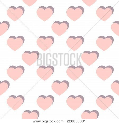 Vector Flat Hearts Seamless Pattern. Valentines Day Background. Love Romantic Pattern. Subtle Abstra