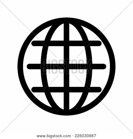 Globe Symbol. Planet Earth Or Internet Browser Sign. Outline Modern Design Element. Simple Black Fla