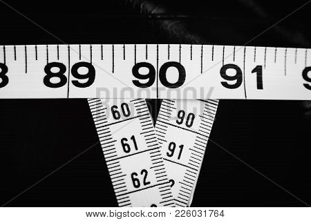 Three measuring tapes showing 90-60-90 as ideal parameters for women poster