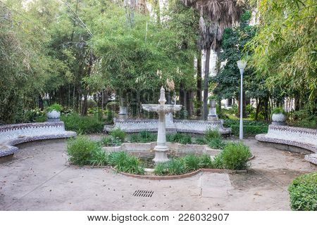Water Fountain In The City Of Malaga, Spain, Europe