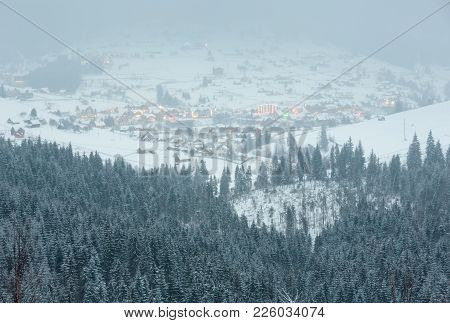 Early Morning Twillight Winter Mountain Landscape With Frosting Fir Trees And Ski Sport Bukovel Reso