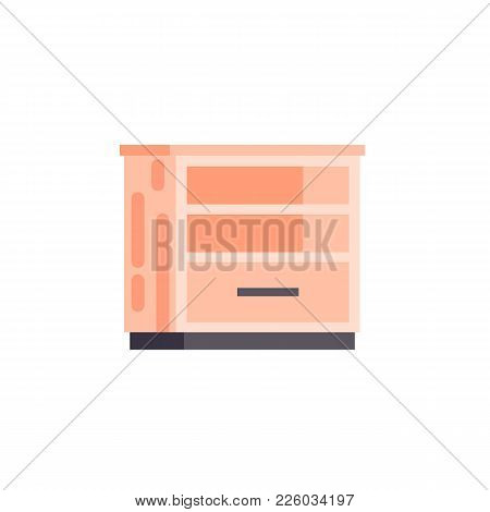 Vector Stock Isolated Illustration Icon Furniture Empty Orange Bedside Table Cabinet With Shelves Fo