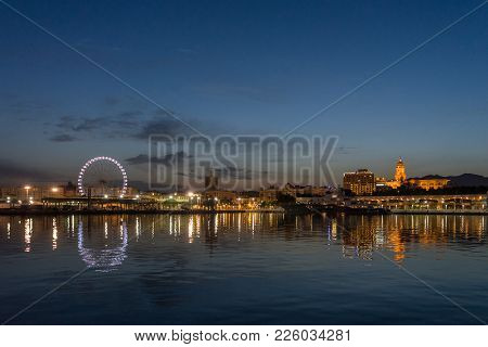 View Of Malaga City From Harbour, Malaga, Spain, Europe