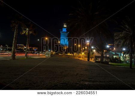 View Of The White Lighthouse Of Malaga, Spain, Europe