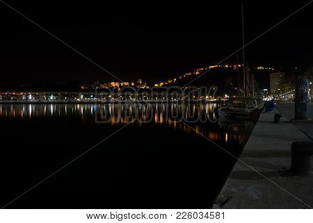 View Of Alcazaba From Harbour, Malaga, Spain, Europe