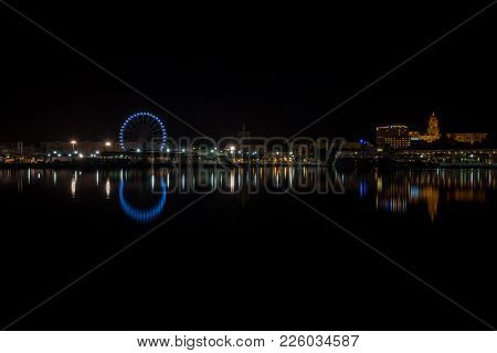View Of Malaga City From Harbour, Malaga, Spain, Europe At Night