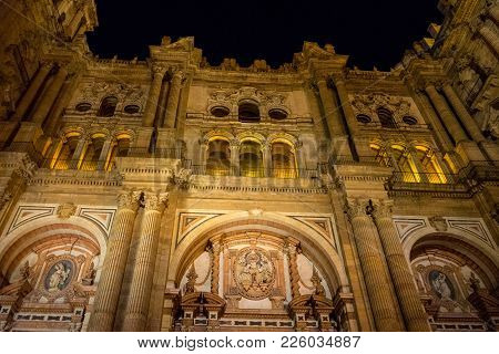 Baroque Design Of The Main Doors To The Malaga Cathedral In Malaga, Andalusia, Spain, Europe