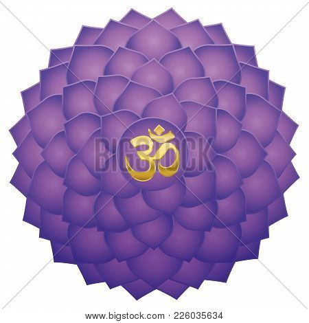 Crown Chakra With Aum Or Om Symbol In The Center. Thousand Petaled Lotus Or Purple Sahasraha. Spirit