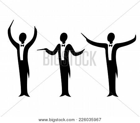 Music Orchestra Conductor Vector Illustration Set. Stylized Silhouette In Tuxedo Suit With Different