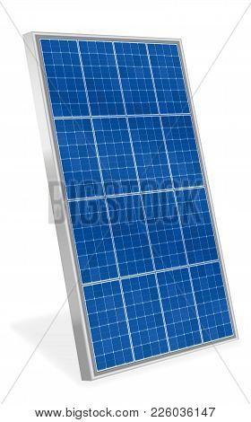 Solar Plate Collector. Upright Three-dimensional Photovoltaic Panel - Isolated Vector Illustration O