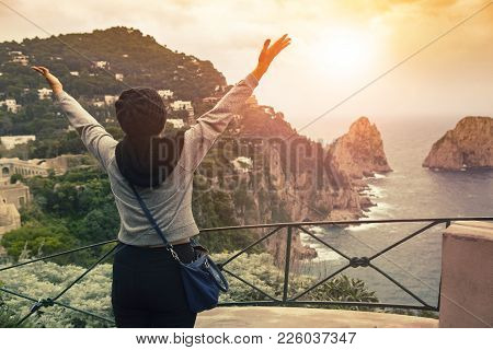 Tourist Woman Standing On Capri Island View Point Most Popular Traveling Destination In South Italy