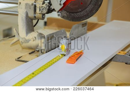 Construction Tools On Wooden Background. Level, Screwdriver Or Drill, Tool Tape Measure Drill