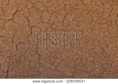 Closeup Pattern Wall Of Earth Shelter House Background Meterial Mix Paddy And Soil For Building Eart