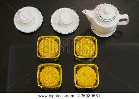 Vietnamese Mid Autumn Festival Cake. Mooncakes Are Traditional Pastries Eaten During The Mid-autumn
