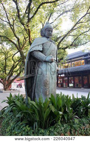 Hangzhou, China-jan 08, 2018: Statue Of General Yue Fei Located Next To West Lake In Hangzhou, China