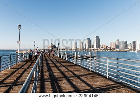 Coronado, California - February 4, 2018:  People Walk On The Dock/pier Of The Coronado Ferry Landing