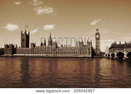 London, United Kingdom - Palace of Westminster (Houses of Parliament) with Big Ben clock tower. UNESCO World Heritage Site.