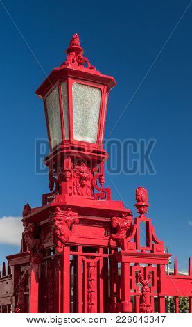 One Very Red Lamp Post Can Be Found Along Auckland Waterfront.