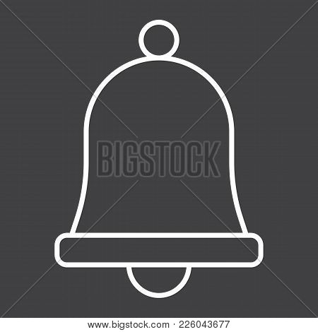 Easter Bell Line Icon, Easter And Holiday, Jingle Sign Vector Graphics, A Linear Pattern On A Black