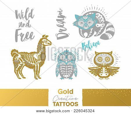Flash Tattoo Gold, Silver And Blue Sugar Skull Of Penguin, Raccoon, Owl And Llama. Gold Creative Tat