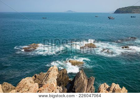 Ocean View At The Cliff Of Stone Plates Da Dia Or Ghenh Da Dia In Central Vietnam
