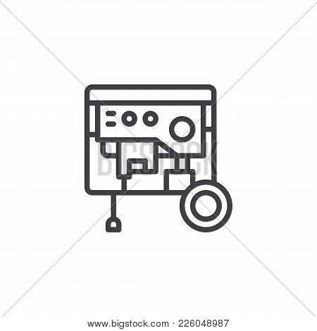 Portable Power Generator Line Icon, Outline Vector Sign, Linear Style Pictogram Isolated On White. E
