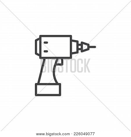 Cordless Drill Line Icon, Outline Vector Sign, Linear Style Pictogram Isolated On White. Electric Sc