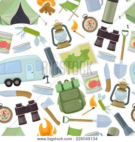 Seamless Pattern Of Travel Equipment. Accessories For Camping And Camps. Colorful Cartoon Illustrati