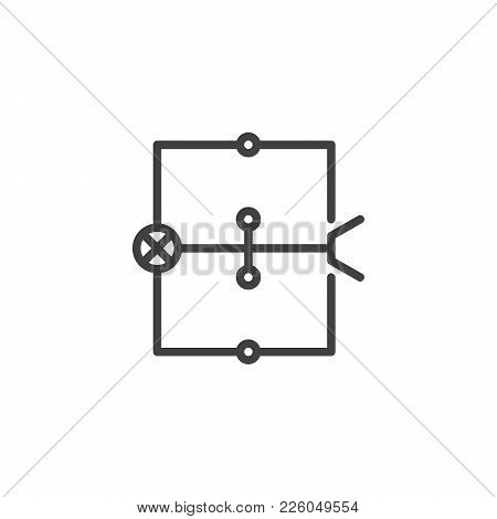 Wiring Diagram Line Icon, Outline Vector Sign, Linear Style Pictogram Isolated On White. Electric Sc