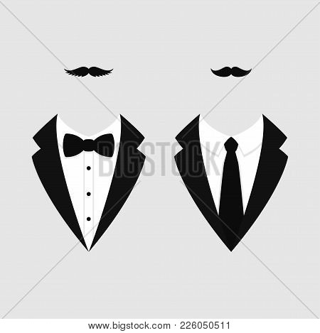 Men's Jackets. Tuxedo With Mustaches. Weddind Suits With Bow Tie And With Necktie. Vector Icon.